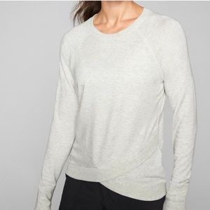 Athleta Light Gray Criss Cross Pullover Sz  XXS